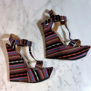 Colorful Striped JustFab Platform Wedge Heels